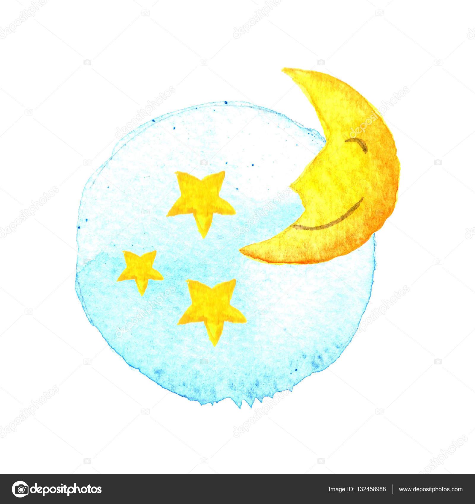 mond und sterne auf gemaltem aquarell symbol symbol für