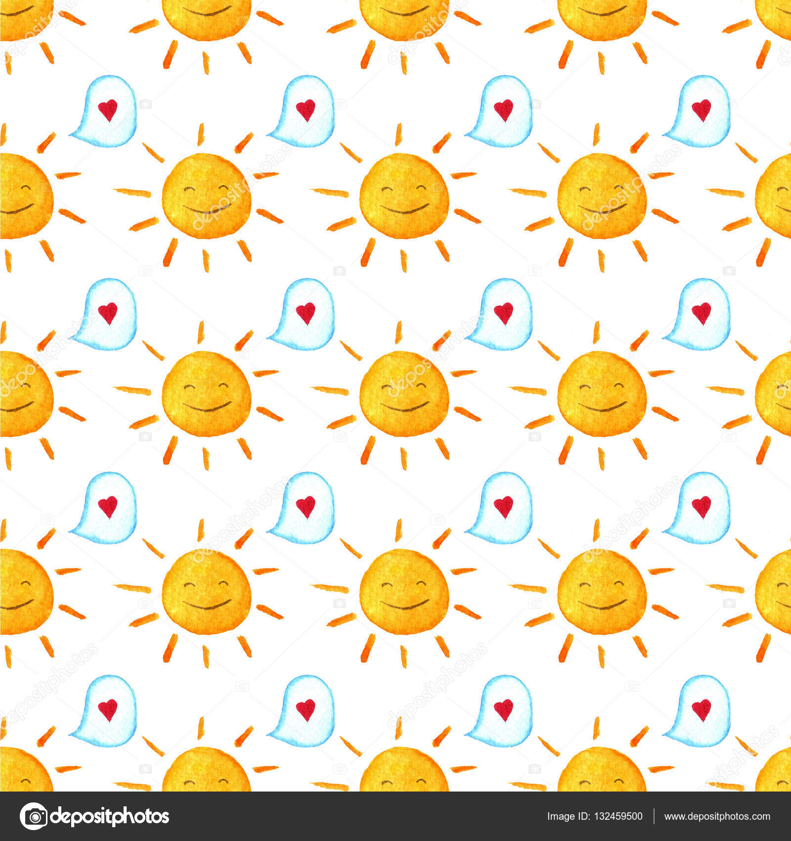 Seamless Baby Pattern Hand Painted Illustration Wallpaper With Hearts Bubbles And Suns Watercolor
