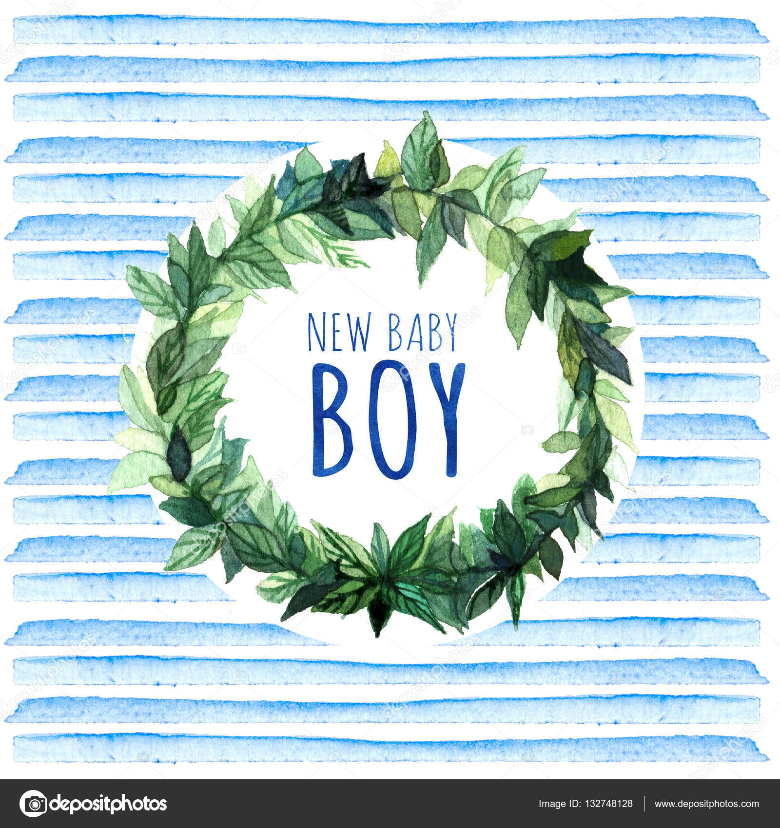 New Baby Boy Watercolor Creative Greeting Cards Template Retro