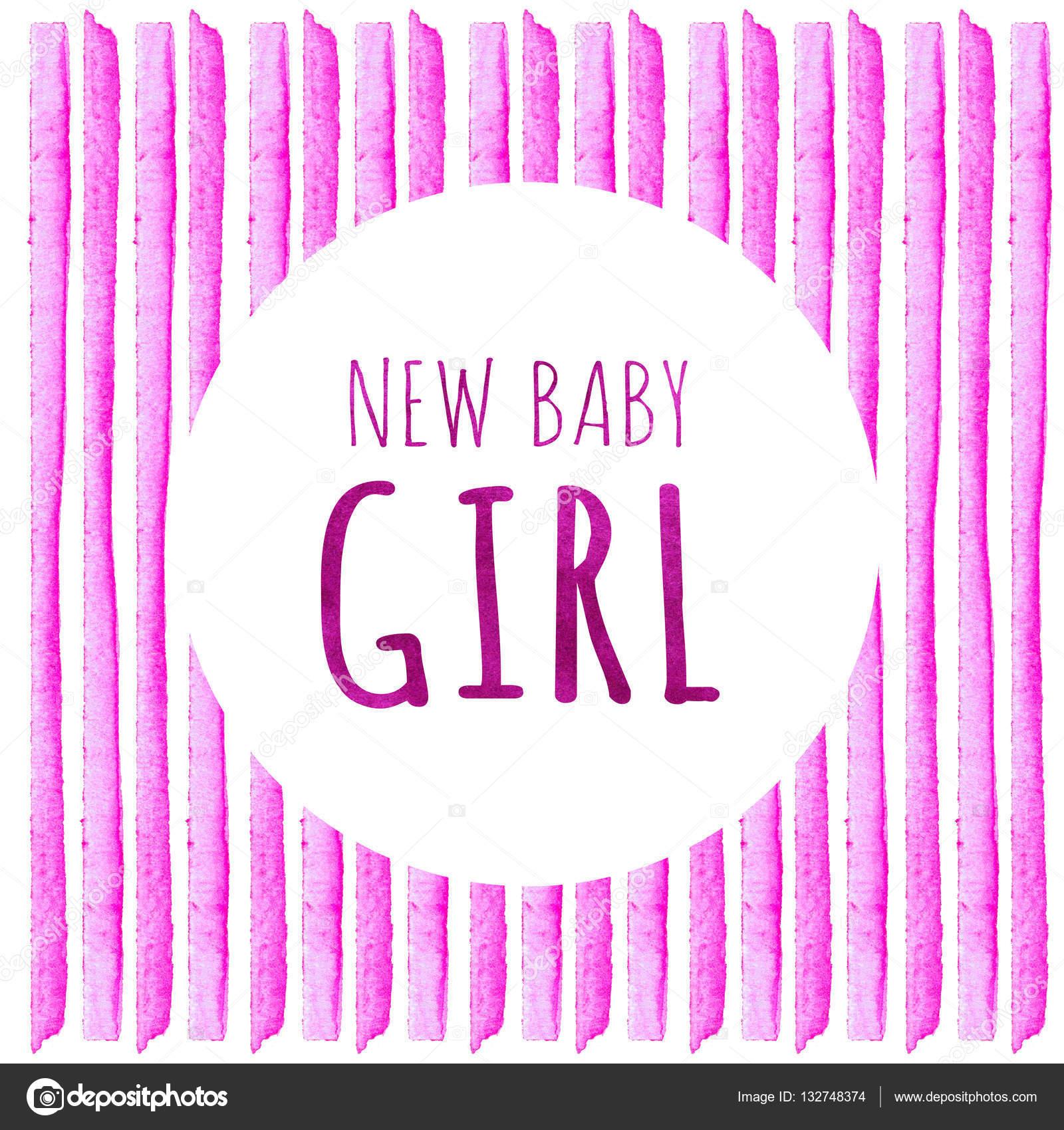 Nueva niña. Acuarela creativa tarjetas de felicitación de la ...