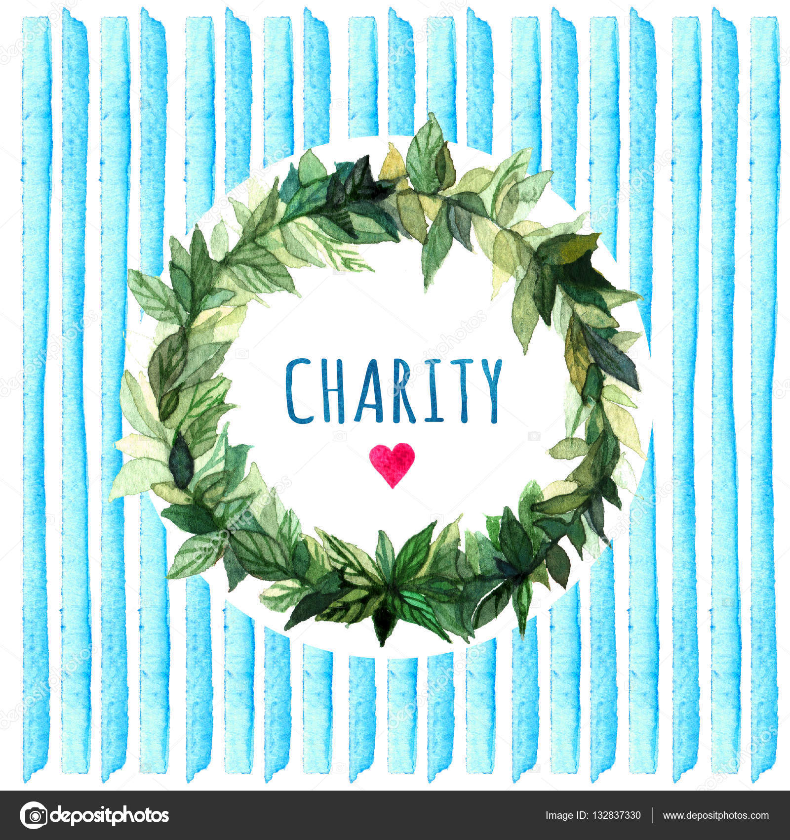 Word charity simple and cute floral circle wreath with spring floral circle wreath with spring branches leaves word charity watercolor creative greeting cards template retro style background kristyandbryce Choice Image