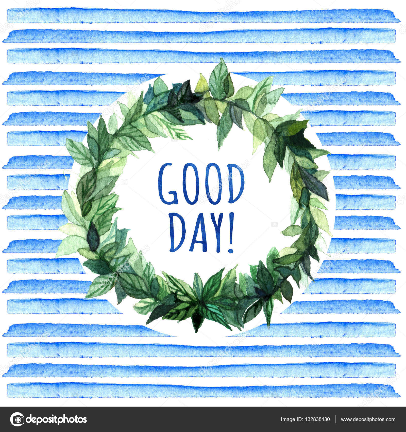 Good day simple and cute floral circle wreath with spring floral circle wreath with spring branches leaves good day watercolor creative greeting cards template retro style background element design for stickers kristyandbryce Gallery