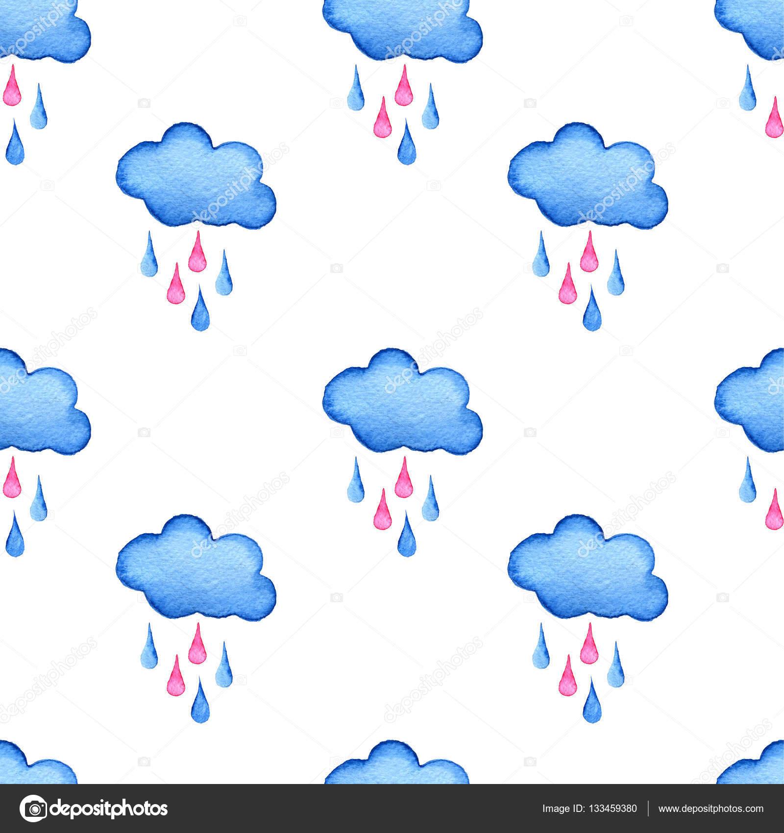 Sulu Boya Bulutlar Ve Yağmur Damlaları Arka Plan Mavi El Boyalı