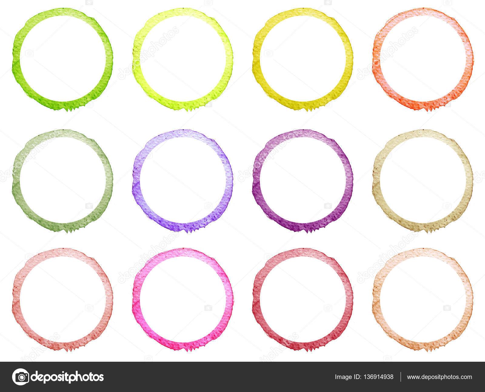 Satz von Hand gezeichnet Aquarell Kreis Rahmen — Stockfoto © K ...