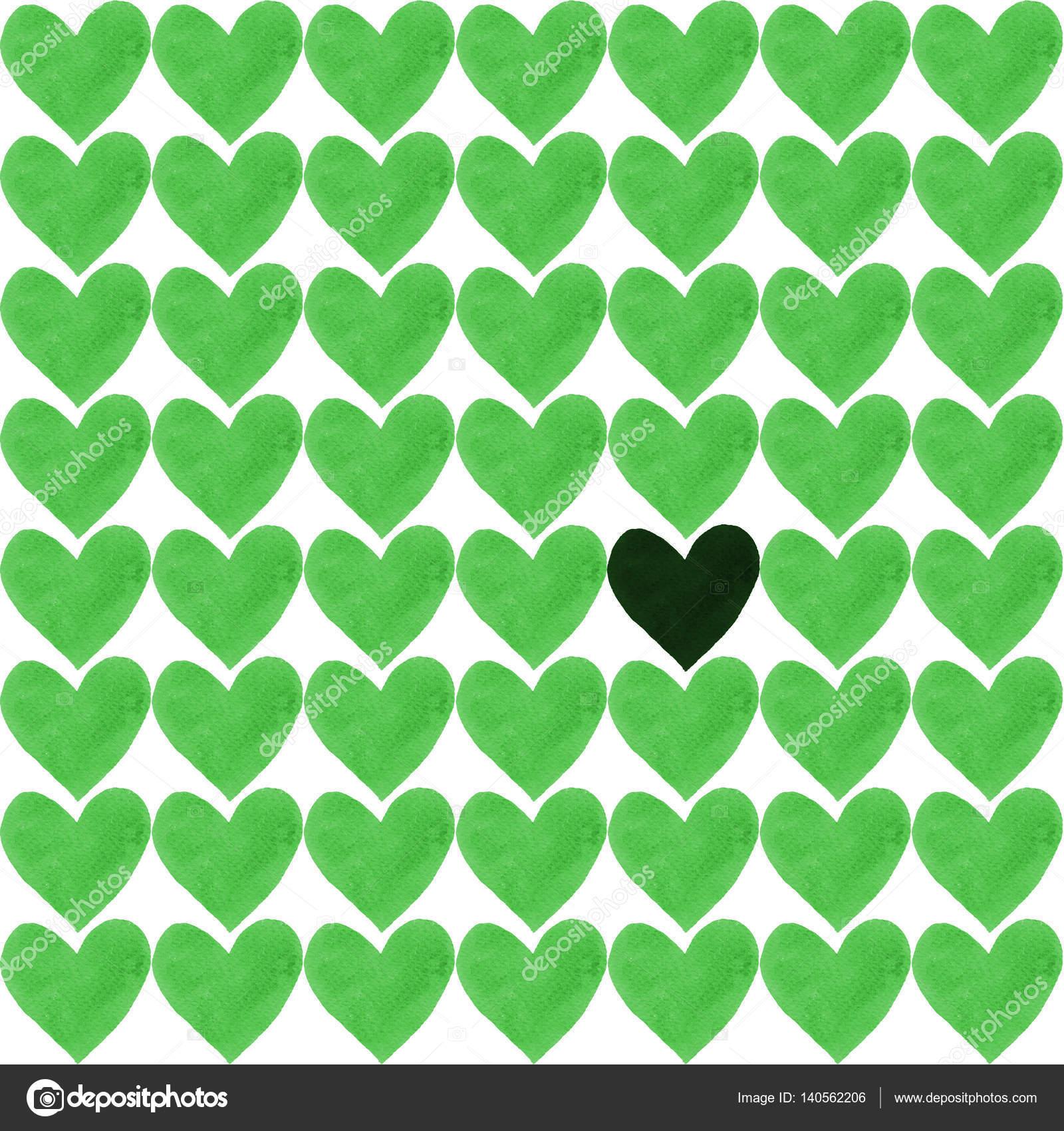 Oscuro corazón con una multitud de corazones verdes — Fotos de Stock ...