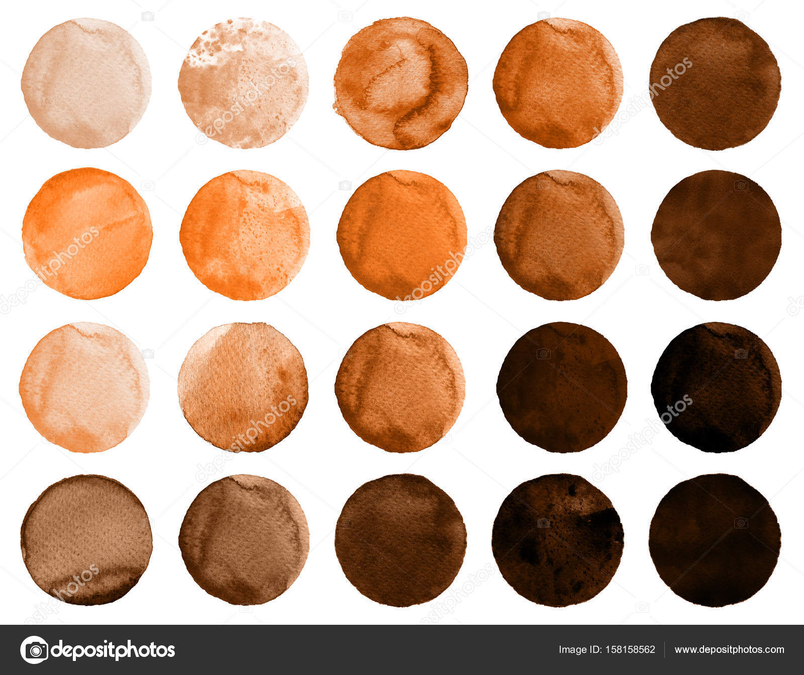Conjunto De Color Marron Cafe Acuarela Circulos Foto De Stock - El-color-marron
