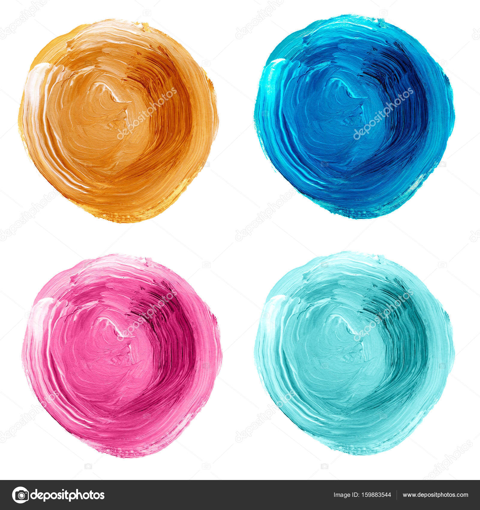 set of pastel textured acrylic circles isolated on white stock