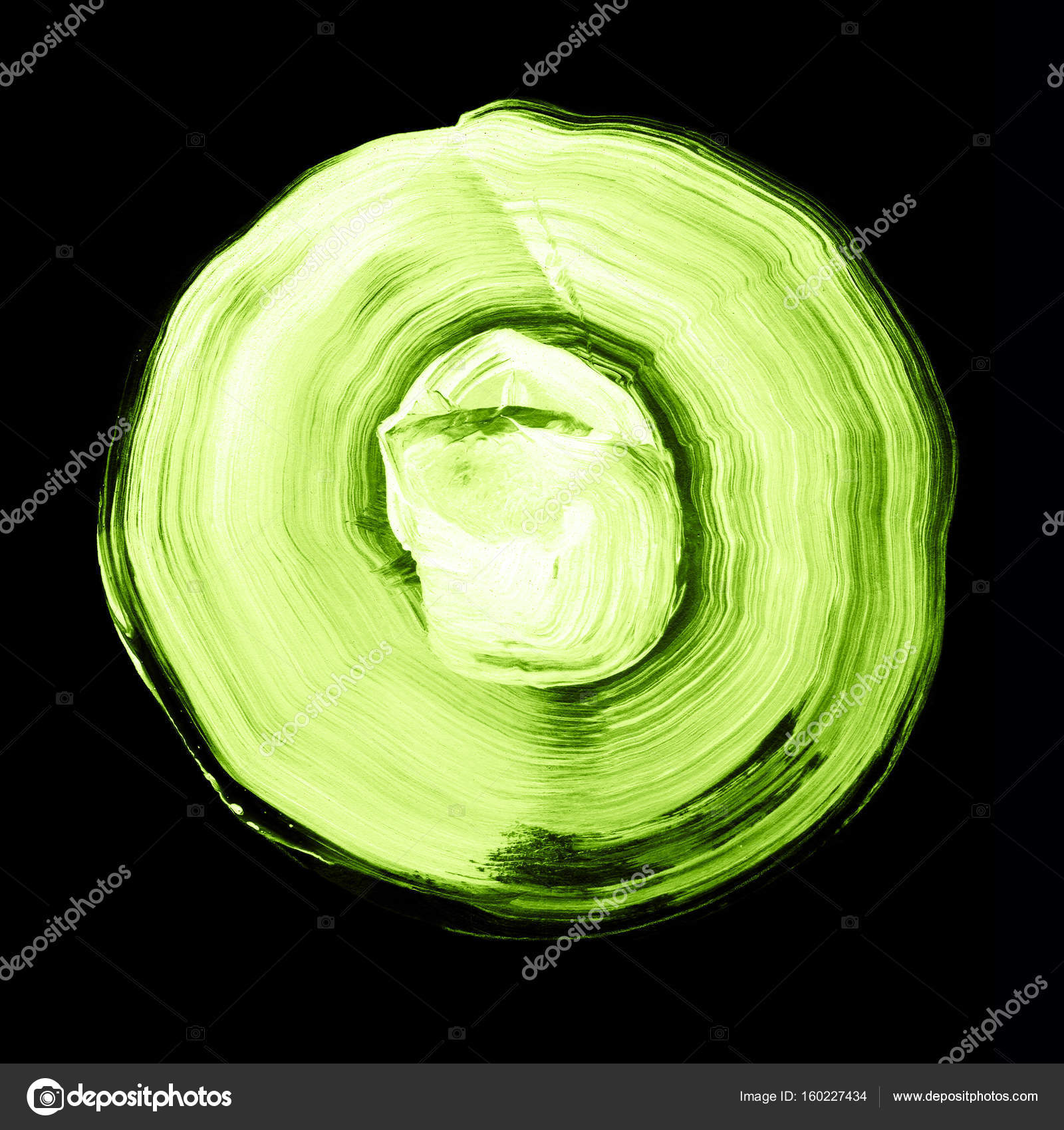 Verde blanco había texturado acrílico círculo. Mancha de Acuarela ...