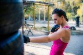 Woman boxer doing working out