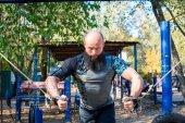 Muscular man during workout