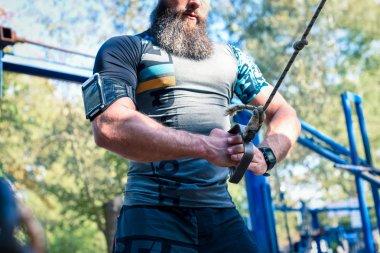 Muscular man during training