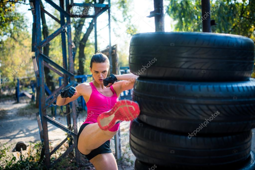 Woman during kickboxing work out