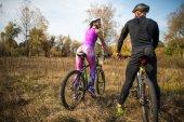 Fotografie Radfahrer im Herbst park