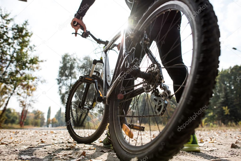 Rear view of man with bicycle