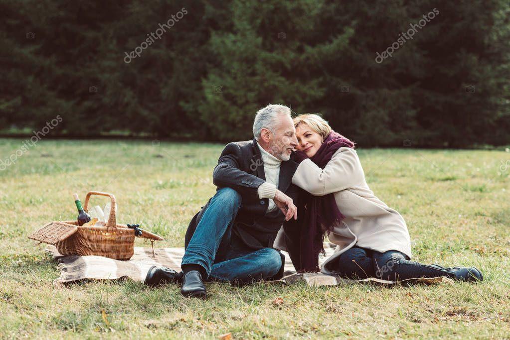 Beautiful mature couple in park