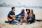 Happy přátelé s kytarou na pikniku