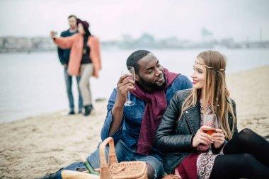 Beautiful romantic couple at picnic