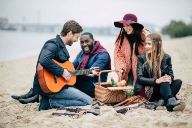Happy friends with guitar at picnic