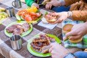 Rodina jíst na pikniku