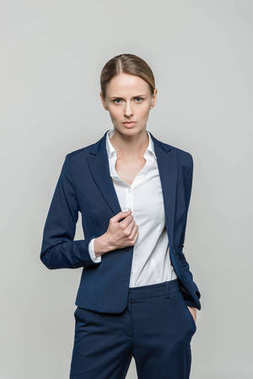 confident businesswoman in suit