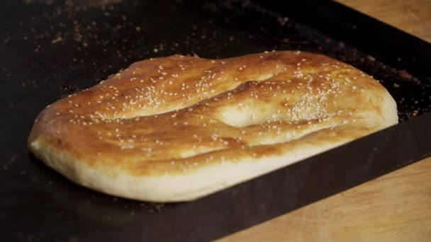 Closeup of baked bread in the restaurant