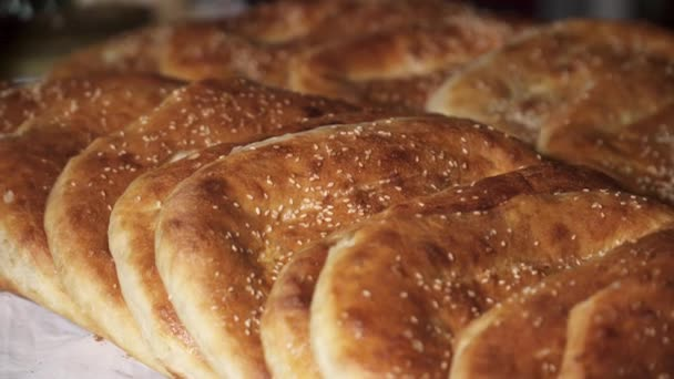 Close up of hot khachapuri on the table