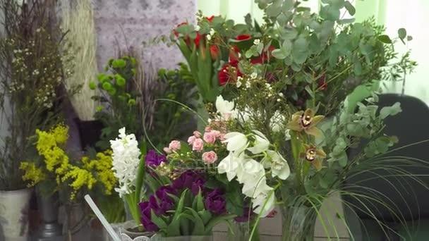 Sada květy kytice v květinářství