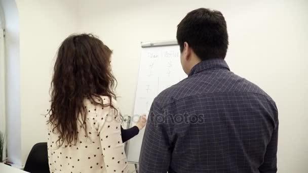 Tým pracovníků se shromáždili kolem tabule v kanceláři, diskusi o myšlenky