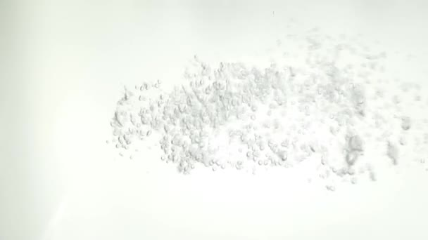 Water pouring into water on white background abstract
