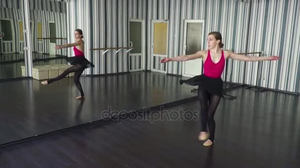 Dancer spinning round in the ballet studio