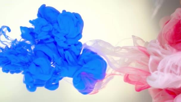 Inchiostro di colore blu, bianco e rosa, versando in acqua su fondo bianco