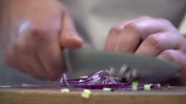Closeup of chef cutting onion on the wooden board