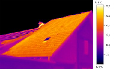 thermal image Photo, roof