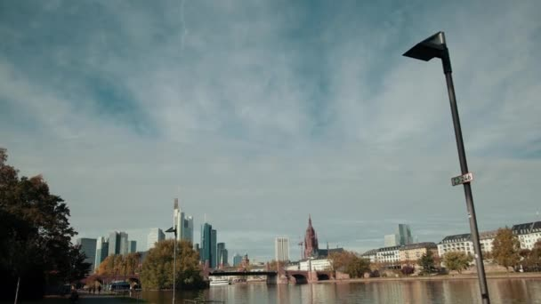 Panorama of the metropolis with skyscrapers river and Park. Germany, Frankfurt.