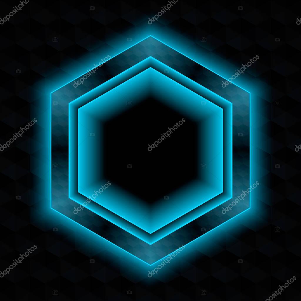 Dark Hexagon Frame With Neon Glow Stock Vector Yurixsail