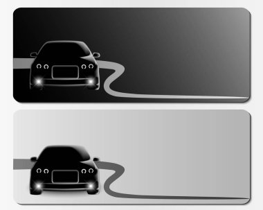 Set of black and white vector banners with frontal view cars.