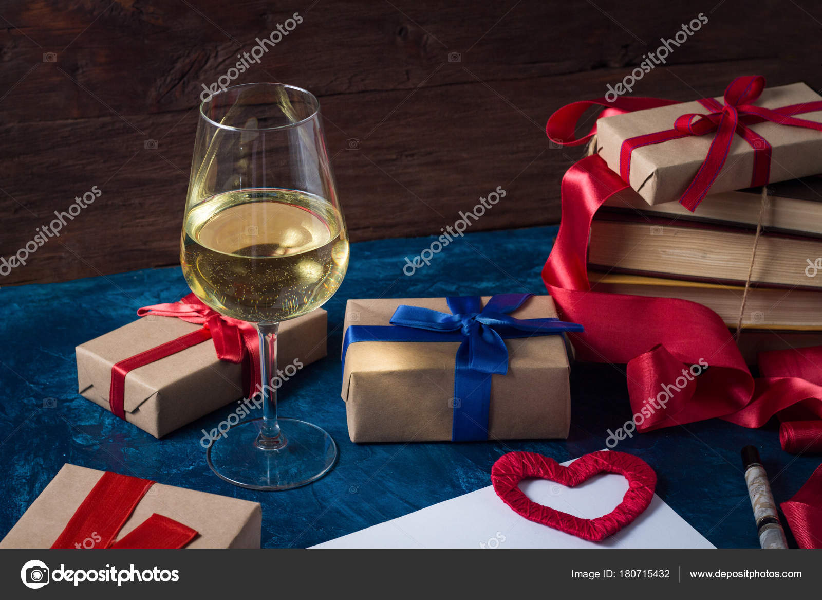 Valentine S Day Wine Glass Packaged Gifts Books Heart And Pu