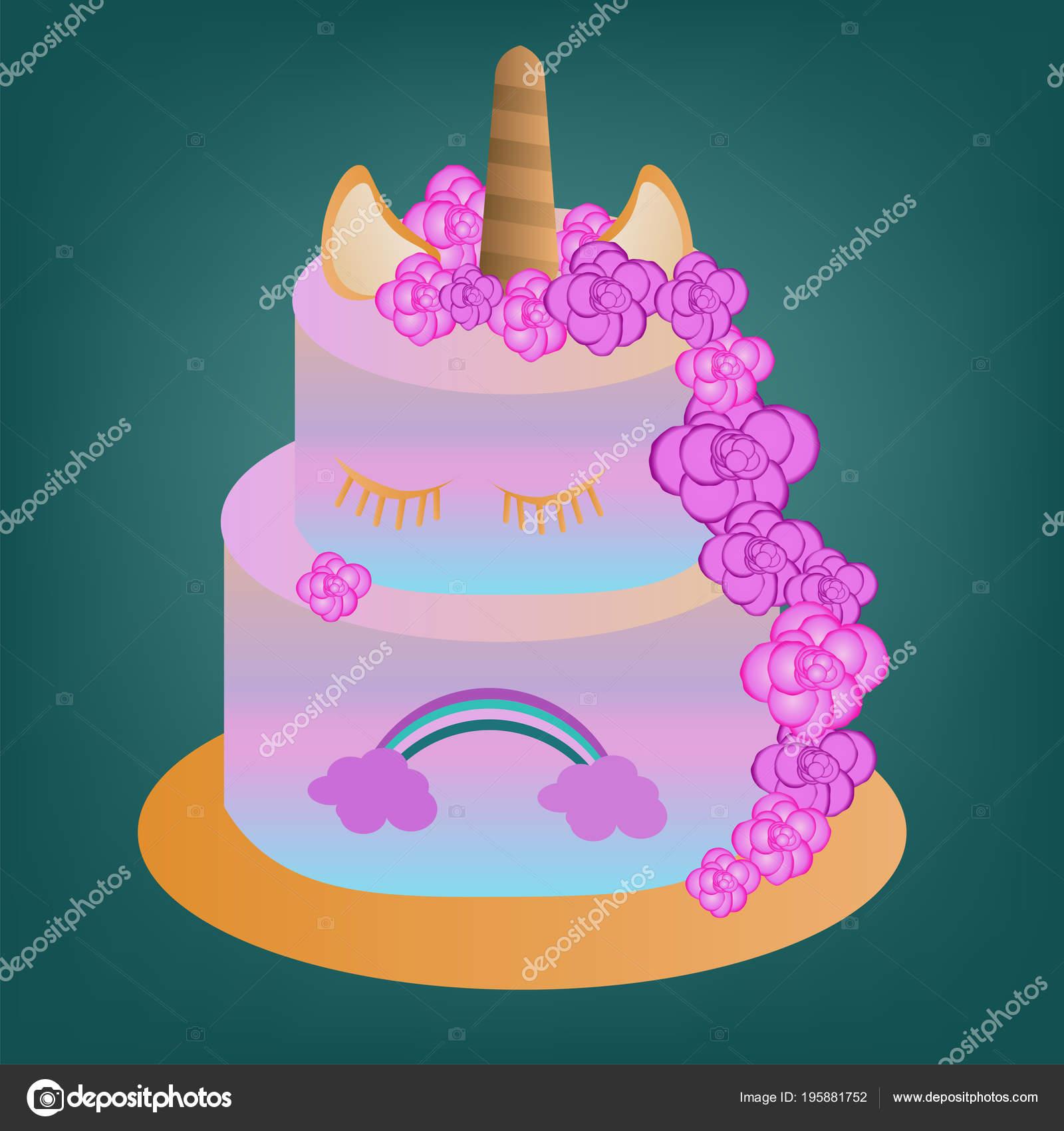 Vector Gâteau Rose Avec Licorne Arc Ciel Pour Enfants Anniversaire