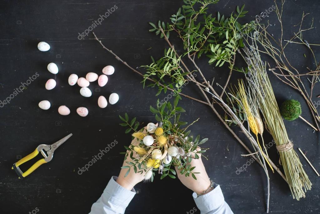 Work florist top view