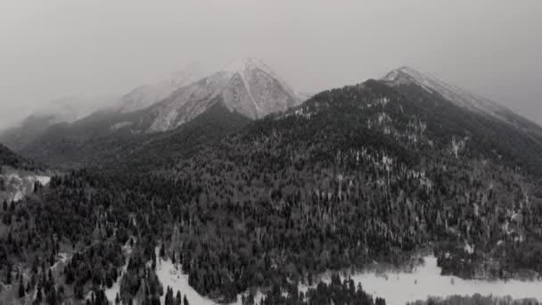 Hory s oblačnými lesními mraky Arkhyz Rusko Kavkaz