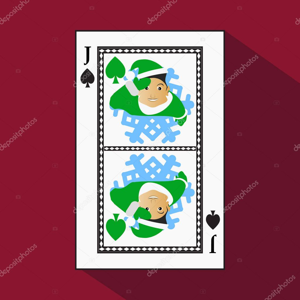 playing card. the icon picture is easy. peak spide JACK JOKER NEW YEAR ELF. CHRISTMAS SUBJECT. with white a basis substrate. vector illustration on red background. application appointment for: website
