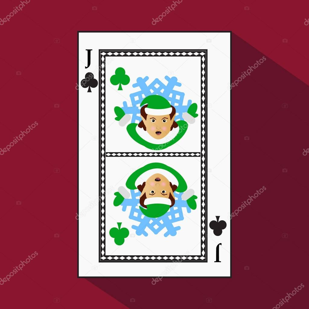 playing card. the icon picture is easy. CLUB . the . JACK JOKER NEW YEAR ELF. CHRISTMAS SUBJECT. with white a basis substrate. vector illustration on red background. application appointment for