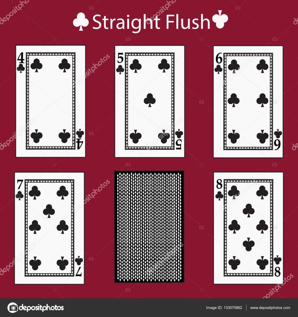 Scala colore combinazione di poker carte da gioco  vettore