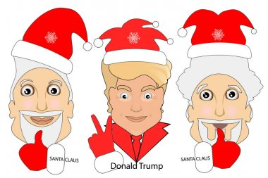 Donald Trump icon vector illustration. sign victory. in an environment two Santa Claus good luck.