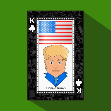 Icon a vector illustration the king the playing card  victory to win Donald Trump the combination. American flag. on  green background