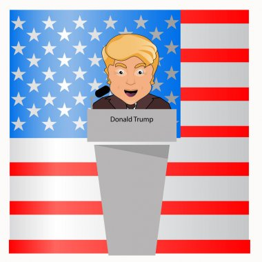 donald trump the president a smile behind an interview tribune in the microphone. Elections of 2016. Fight success. Vector illustration. Against the background  blue white red the American flag