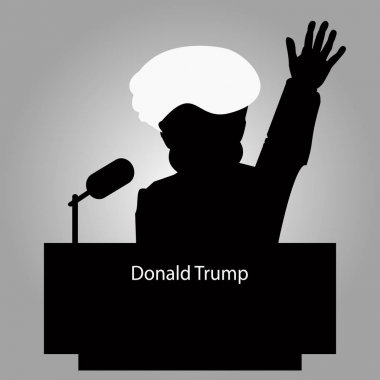 Donald Trump the Tribune a silhouette an icon for  interview,  hand up. speaker of  press conference. The microphone on  light background. Vector illustration.