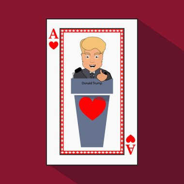 To give  Donald Trump an interview a tribune,  speak in the microphone, propaganda,  hand up. Card ace heart. vector illustration eps 10. On light it is easy  separate  background.