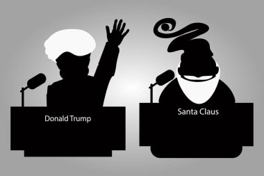 Donald Trump and Santa Claus of a tribune silhouettes an icon for  interview,  hand up. speaker   press conference. The microphone on  light background. Vector illustration.