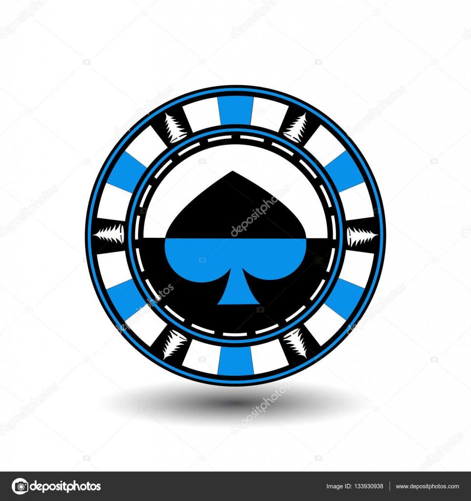 Pokerchip Weihnachten. Blau. Mit dem Spaten-Anzug in der Mitte und ...